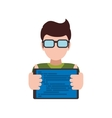 Man glasses tablet avatar person icon vector image vector image