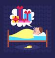 man sleep in bad dream bubble gift box present vector image