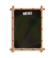 menu board with bamboo frame isolated on white vector image vector image