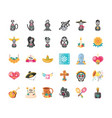 mexican day dead detailed style 30 icon set
