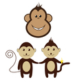 monkey cartoon friend set smile design vector image