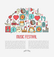 music festival concept in half circle vector image vector image
