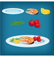 plate with grilled fish lemon and vegetables vector image