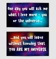 postacrd with sentimental saying cosmic backdrop vector image vector image