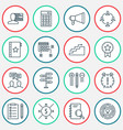project icons set with teamwork and meeting goal vector image vector image