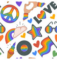 rainbow and cloud peace sign and love pattern vector image