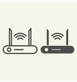 router line and glyph icon wi-fi vector image