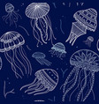 seamless pattern with jellyfishes in ethnic boho vector image vector image