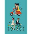 Set of a Couple on a Bike and a Scooter vector image vector image
