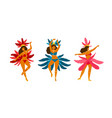 set woman in colorful brazilian carnival vector image vector image