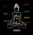 seven chakras - the theme of meditation and yoga vector image