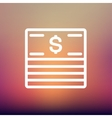 Stack of dollar bills thin line icon vector image vector image