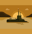 submarine with navy soldier sea island sunset vector image vector image