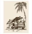 surf van on the beach under the palm tree vector image