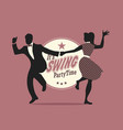 swing party time silhouettes of young couple vector image vector image