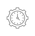 time management outline icon clock inside gear vector image