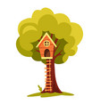 tree house children playground with swing and vector image vector image