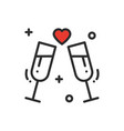 two glasses romantic toast line icon wedding vector image vector image