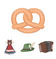 tyrolean hat accordion dress pretzel vector image vector image