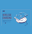 wireless charging isometric banner charge device vector image