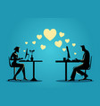 woman and man chatting online on the computer vector image