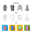 women clothing flatoutlinemonochrome icons in vector image vector image
