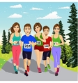 young runners running a marathon competition vector image vector image
