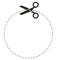 Scissors circle cut line vector image