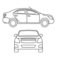 Drawing car side view and vector image