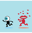 The blue eye runaway The red mouth vector image