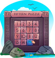 Fifteen puzzle in the form of stone blocks vector image