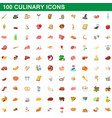 100 culinary icons set cartoon style vector image vector image