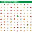 100 culinary icons set cartoon style