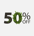 50 percent off lettering with eucalyptus leaves vector image vector image