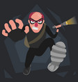 a picture of a balding thief in a mask that runs vector image vector image