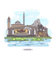 albania landmark buildings architecture monument vector image