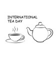 black and white drawing of cup and teapot vector image