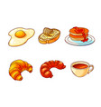 breakfast hand drawn color set vector image
