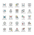 bundle data science flat icons vector image vector image