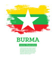burma flag with brush strokes independence day vector image vector image