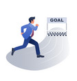 businessman running towards goal concept vector image vector image