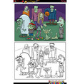 cartoon zombie characters group coloring book page vector image vector image