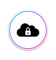 cloud computing lock icon isolated on white vector image vector image