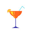 cocktail with piece of lemon or orange citrus vector image