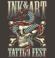 colorful tattoo festival poster vector image vector image