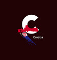 croatia initial letter country with map and flag vector image