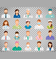 doctor avatars on transparent background vector image vector image