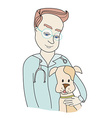 Dog and veterinarian - doodle vector image