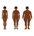fat african women cartoon outline style human vector image vector image