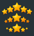 five stars rating gold icon 3d cartoon game vector image